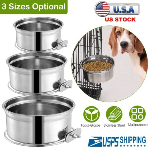 Detachable Crate Dog Bowl Pets Hanging Food Water Feeder Stainless Steel w/Hook