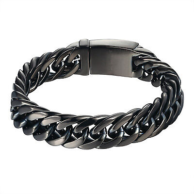 Stainless Steel Black Miami Cuban Link Bracelet 14mm Box Lock Design Mens