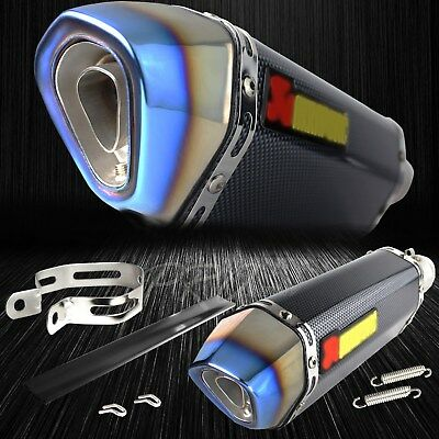 """1.5""""-2"""" Inlet 1-1/4"""" Slanted Burnt Tip Carbon Look Racing Wrap Exhaust System"""