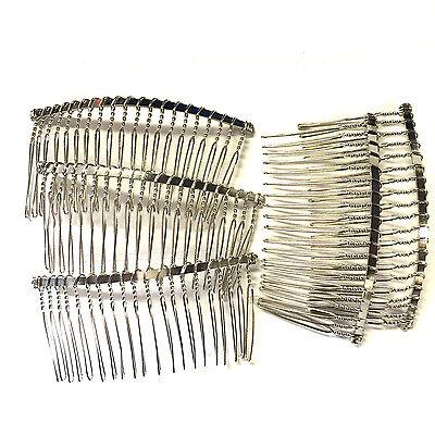 5 x Silver Plain Hair Combs Silver Effect 8 x 3.8cm Weddings Prom Hair