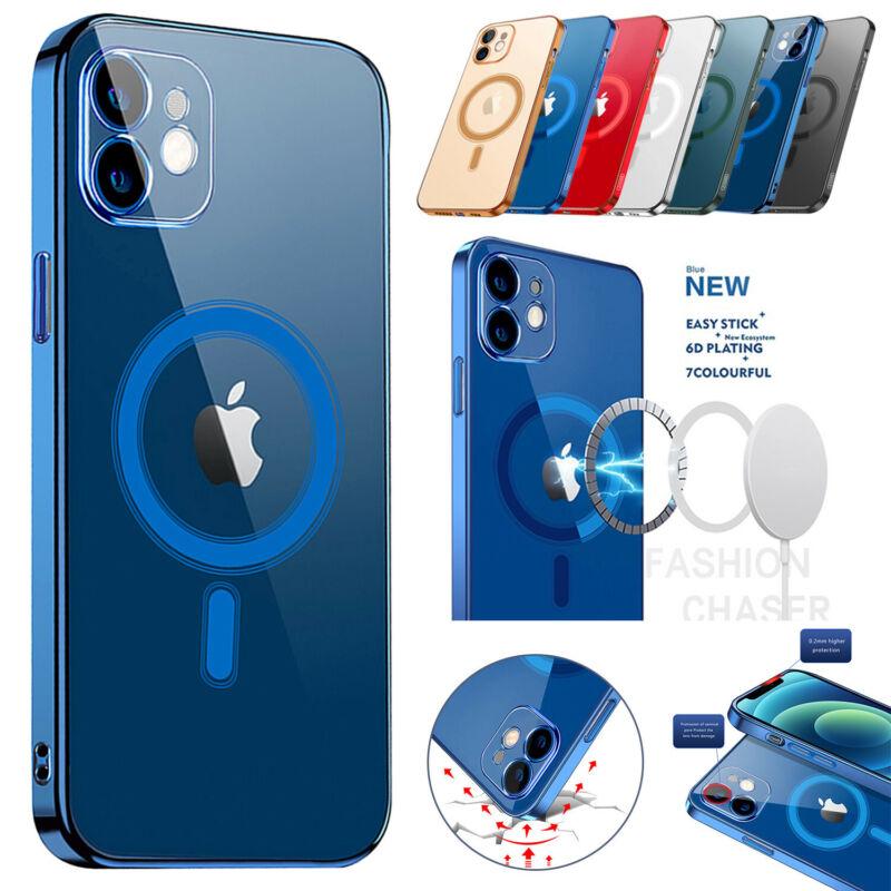 Case For iPhone 12 Pro Max Electroplating Mag Safe Transparent Shockproof OEM