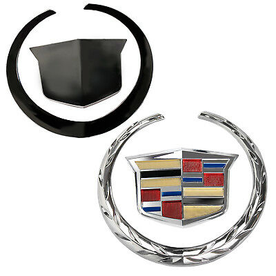 Front Chrome Grille Wreath&Crest Emblem Badge Car For Cadillac 5.75*6.25 Inch