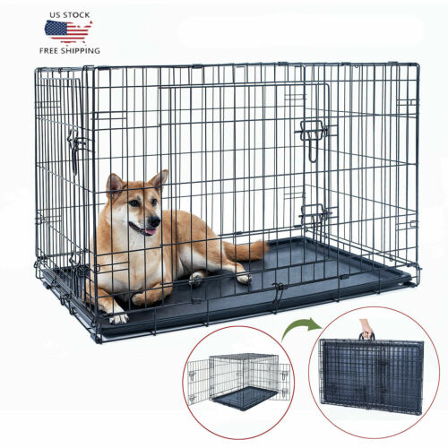 "NEW 48"" Dog Crate Kennel Folding Metal Black Pet Cage 2 Door"