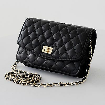 New Black Mini Genuine Leather Gold Chain Quilted Shoulder Crossbody Clutch Bag