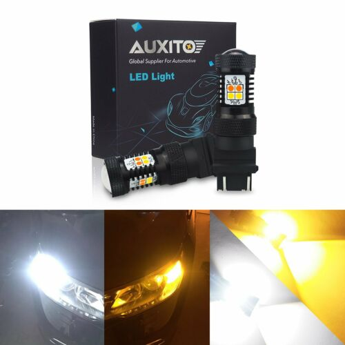 2X 3157 LED DRL White//Amber Yellow Switchback Turn Signal Parking Light Bulb 16K