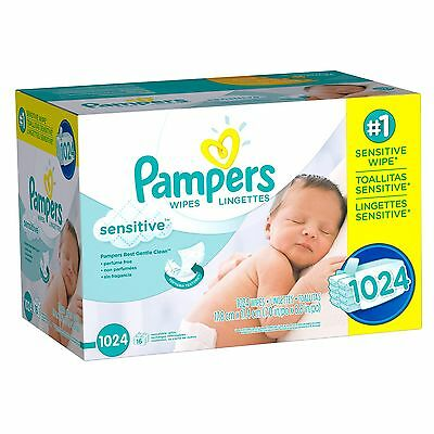 Pampers, Sensitive Baby Wipes, 1024-Count