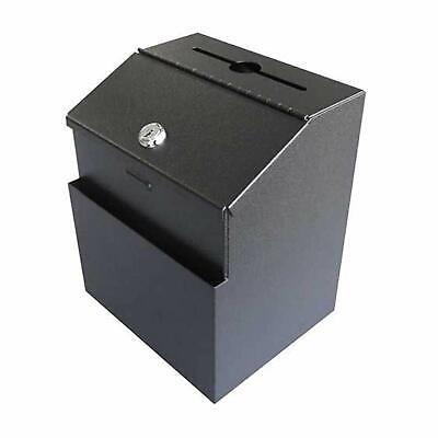 Suggestion Ballot Box Locking Metal Wall Mountable Office Fundraising Donation