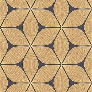 vibration noir et or paillet r tro fleur papier peint par. Black Bedroom Furniture Sets. Home Design Ideas