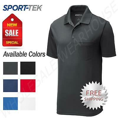 Sport-Tek Mens Cool Dry Fit Wicking Performance Golf Polo Pocket T-Shirt ST640P ()
