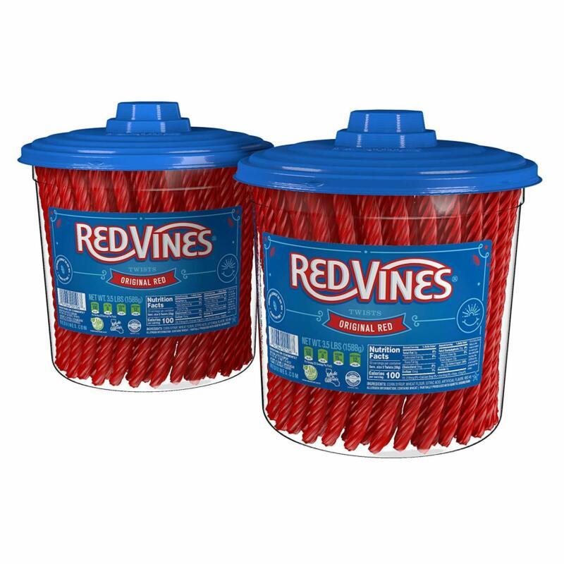 RED VINES Original Red Licorice Twists, 3.5LB Jar 2-Pack