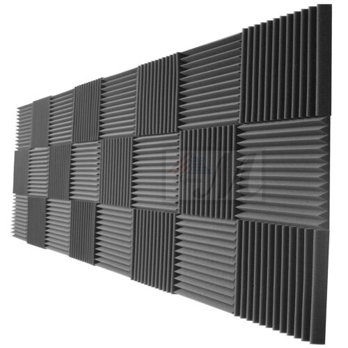"24 Pack Acoustic Wedge Studio Soundproofing Foam Wall Tiles 12"" X 12""X2"""