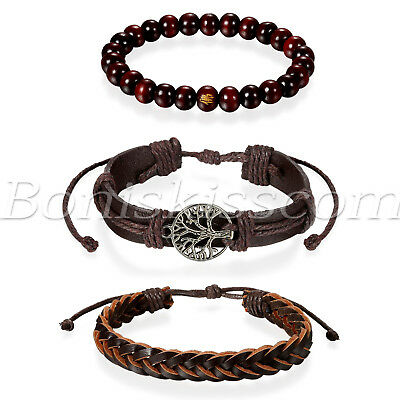 Wood Wrap Bracelet - 3pcs Mens Womens Ethnic Leather Hemp Cords Wood Beads Wristbands Wrap Bracelets