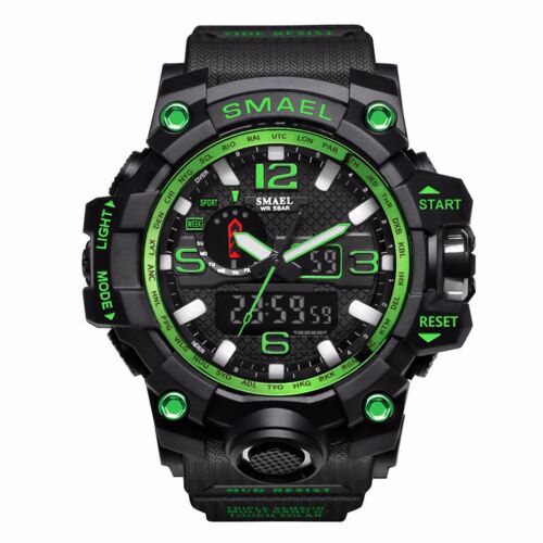 SMAEL Men Military Digital Shock Quartz Watch Dual Time Waterproof Army Sport US