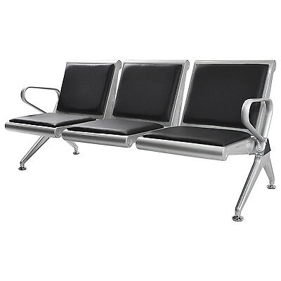 3 Seat Heavy Duty Salon Office Bench Bank Airport Reception Waiting Room Chair