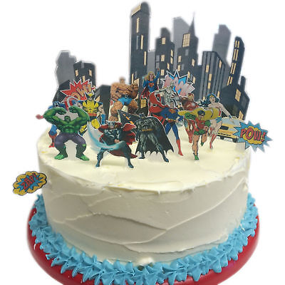 Avengers DC Superheld Batman Eßbar Tortenbild Party Deko Muffinaufleger Cupcake