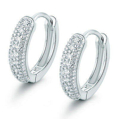 (Vintage Ring Hoop Silver 18K White Gold Filled Paved Diamond Women Lady Earrings)
