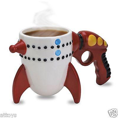 2x  - Novelty Ceramic Mug Coffee Cup - The Retro Ray Gun Rocket New x 2 (Novelty Mug)