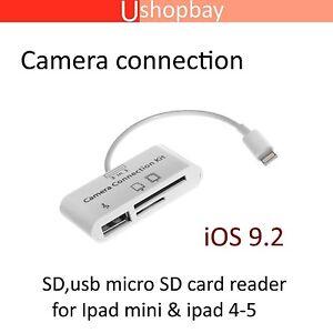 Camera Connection Kit 3 in 1 USB U-disk/SD/TF Card Reader iPad 4 Mini iPhone 5 6