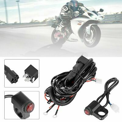 Motorcycle Spot Fog Light Wiring Loom Harness Switch Kit Adventure Touring Bike