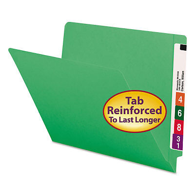 Smead Colored File Folders Straight Cut Reinforced End Tab Letter Green 100box