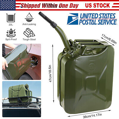 Jerry Can 5gallon 20l Gas Gasoline Fuel Army Backup Metal Steel Tank Spill Proof