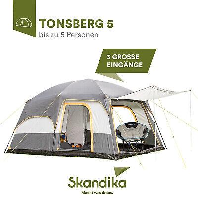 Skandika Tonsberg 5 Personen Familienzelt Campingzelt Doppelwandzelt grau NEU
