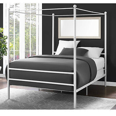 White Metal Canopy Bed - Canopy Bed Frame Queen Size Metal Princess Girl Kids Bedroom Furniture White New