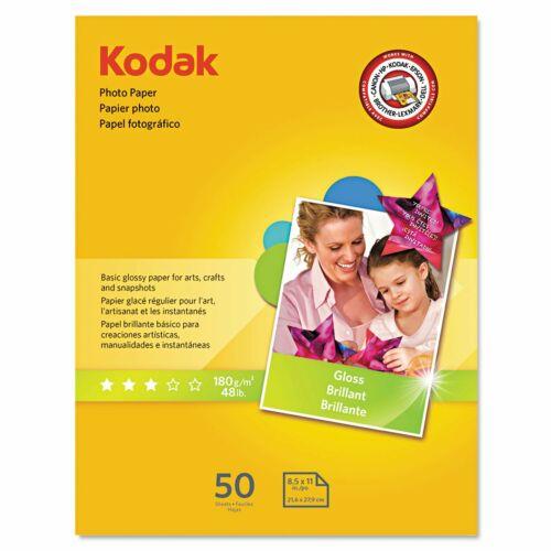 "KODAK Photo Paper Gloss 8.5""x11"", 50 count, 48lb weight, 6.5 mil 1213719"