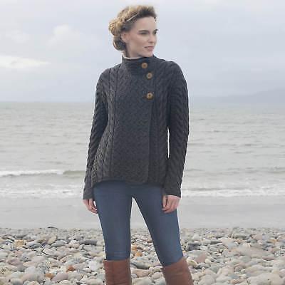 Womens Luxury 3 Button Wool Sweater - Gray - Merino Wool, Imported - B840-572