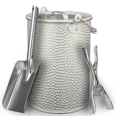 Secchio metallo 13L ZINCATO BATTUTO CENERE pinze mattonelle-carbone + PALA Blank