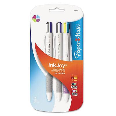 Paper Mate Inkjoy Quatro Retractable Ballpoint Pens Medium Assorted 3-count