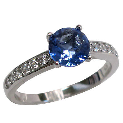FANCY ROUND CUT 1.5 CT TANZANITE 925 STERLING SILVER RING SIZES 5-10