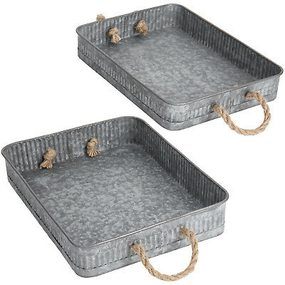 MyGift Rustic Galvanized Metal Nesting Serving Trays with Ro