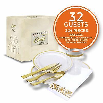 224 Pcs Heavy Duty Elegant Rose Gold Plastic Disposable Dinner Plates