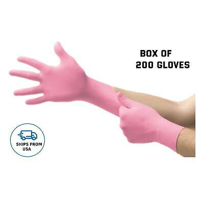 Pink Gloves - Nitrile Exam Gloves Powder Free Disposable - Box Of 200 Gloves