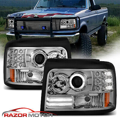 [LED Halo] 1992-1996 Ford Bronco/F150/F250/F350 Projector Chrome Headlights Pair