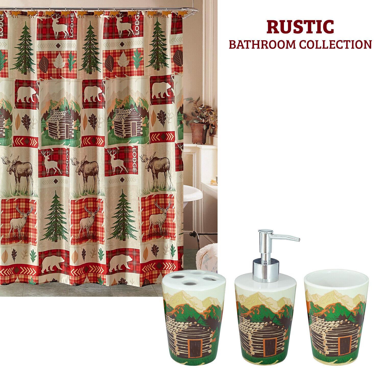 Rustic Bathroom Cabin Sink Accessory Set, Shower Curtain or Bath Mat Lodge Elk Bath