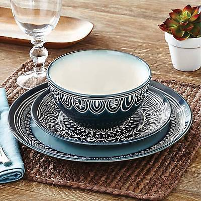 24-piece Stoneware Dinnerware Set Service for 8 Dinner Dishes Plates Bowls Teal (Teal Dinnerware)