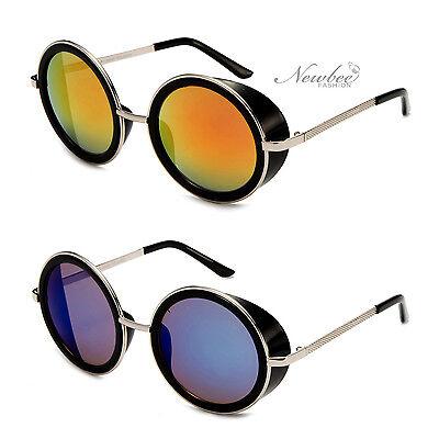 Women Mirror Flash Lens Round Studio Cover Side Shield Sunglasses Metal (Studio M Sunglasses)