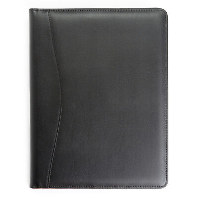 New Royce Leather Executive Zippered Writing Pad Portfolio Organizer Black