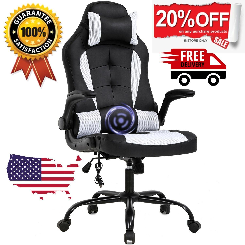 ✅PC Gaming Chair Massage Office Ergonomic Desk Racing Exec