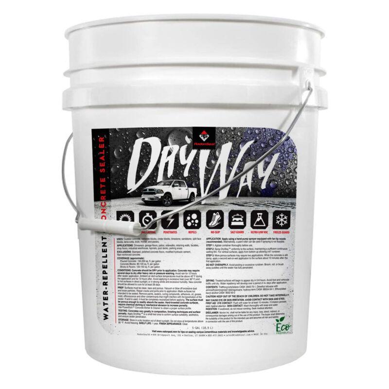 RadonSeal DryWay Outdoor Concrete Driveway Clear Penetrating Sealer, 5 Gallon
