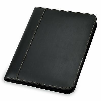 Samsill Contrast Stitch Leather Zipper Padfolio Portfolio Folderorganizer