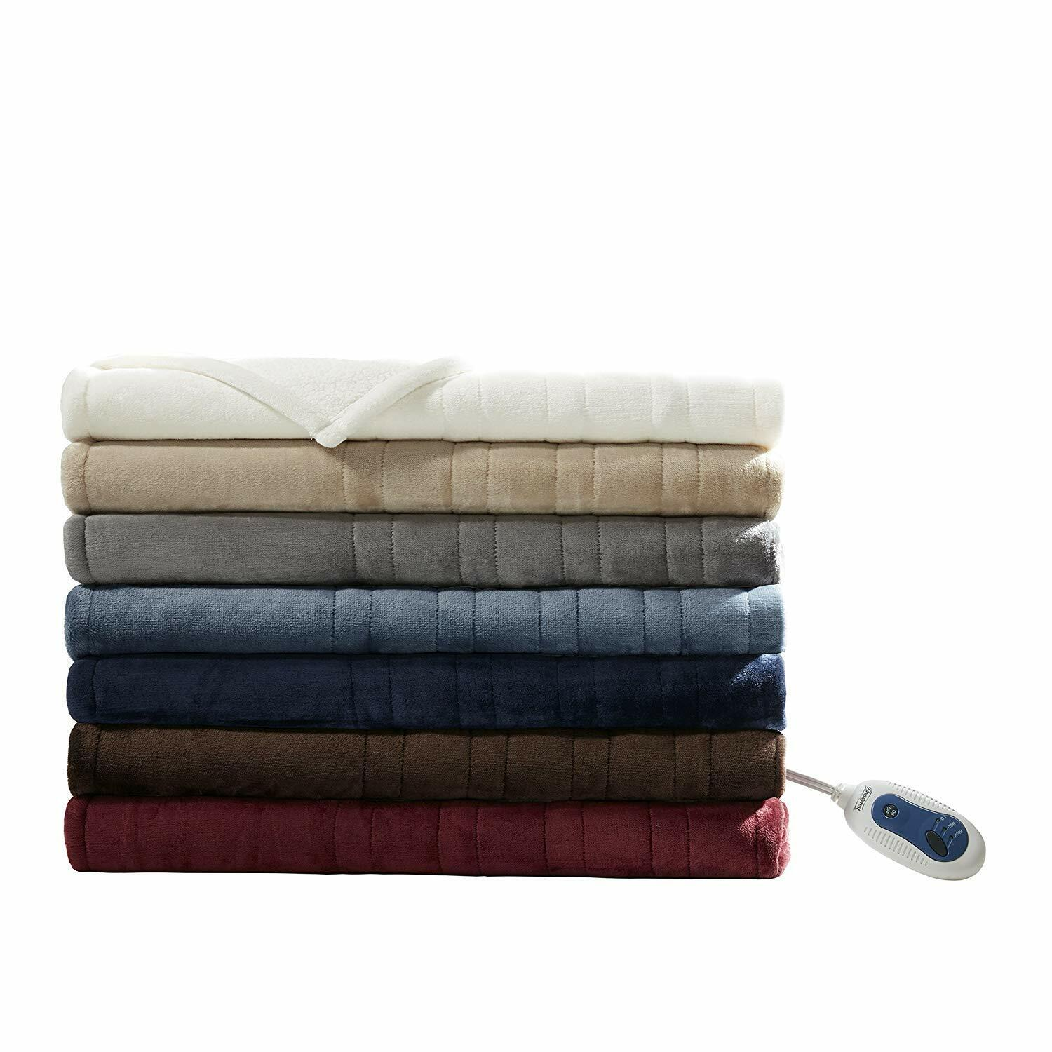 Beautyrest Plush Heated Secure Comfort Electric Throw Blanke