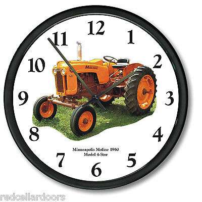 New 1960 Minneapolis Moline Model 4 Star Wall Clock 10 Vintage Tractor Dial