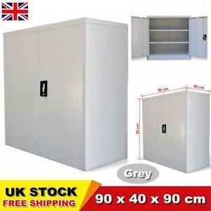 Office Storage Metal Cabinet Filing Document Cupboard Lockable 2 Doors Stylish