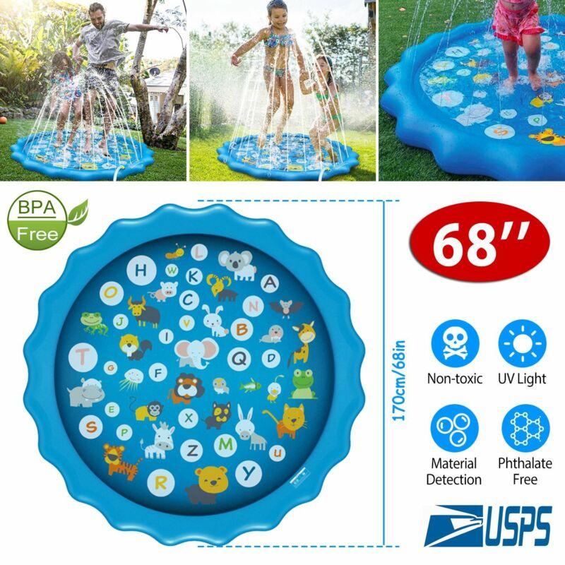 "68"" Splash Pad Kids Sprinkler Mat Wading Pool Toddlers Water Play Outdoor Summer"