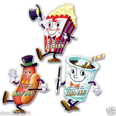"1950s Grease Sock Hop Retro MOVIE NIGHT CONCESSION Party Decoration CUTOUTS 18"""
