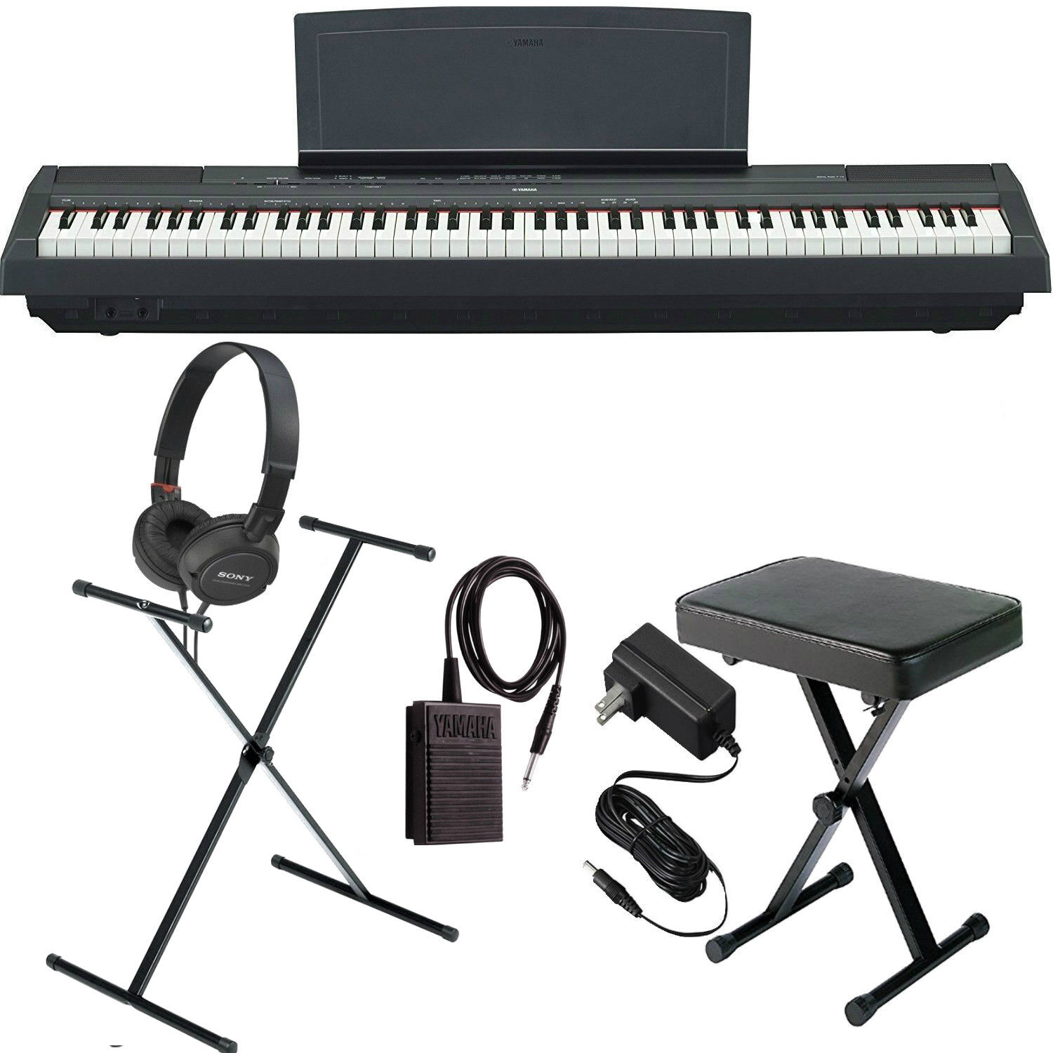 Yamaha P-125 Black COMPLETE BUNDLE Digital Piano W/ Stand, B