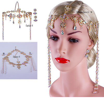 Gatsby Headpiece Earrings 1920s Roaring 20s Crystal Flapper Wedding Accessories](Flappers Headpiece)